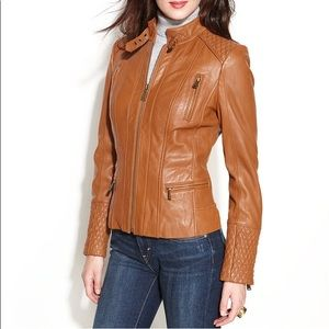 ANNE KLEIN Quilted Leather Jacket